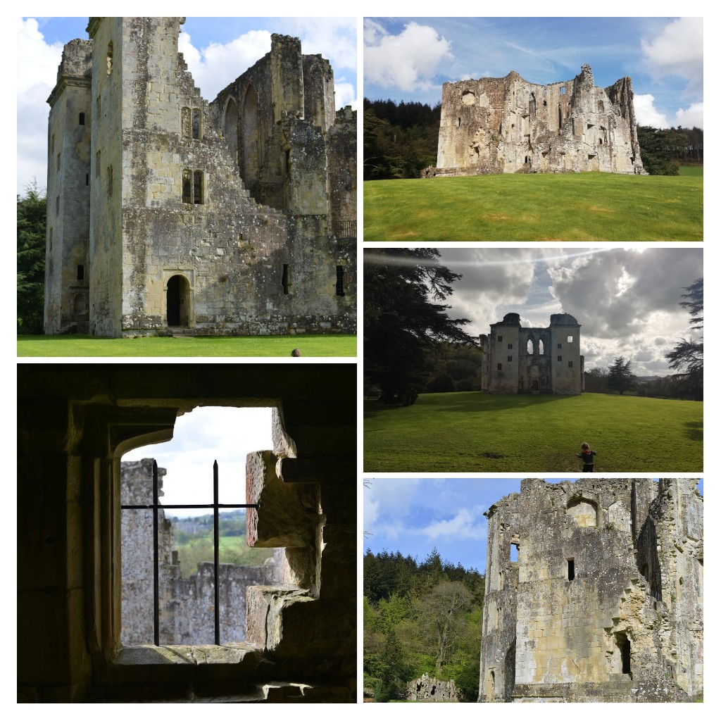 A collage containing five views of Old Wardour Castle